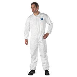 Dupont Tyvek Elastic-Cuff Coveralls, HD Polyethylene, White, Large, 25/Carton
