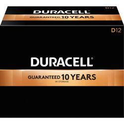 Duracell D Batteries, Coppertop, 12/BX, Black