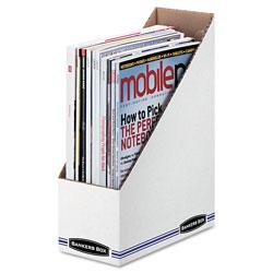 Fellowes Corrugated Cardboard Magazine File, 4 x 9 1/4 x 11 3/4, White, 12/Carton
