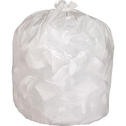 Genuine Joe White Trash Bags, 13 Gallon, 0.85 Mil, 24 in x 31 in, Box of 150