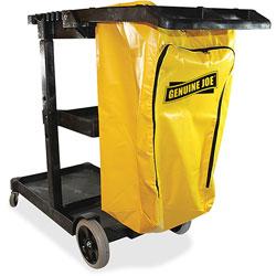 Genuine Joe Janitors Cart, 30-3/4 in x 55-5/8 in x 38 in, Lt Gray/Yellow