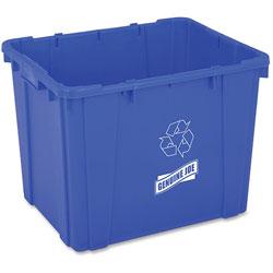 Genuine Joe Recycling Bin, Curbside, 14 Gal, 14.5 in x 19.5 in x 15.38 in, Blue