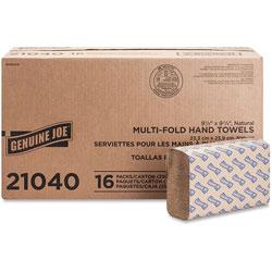 "Genuine Joe 21040 Natural Multifold Towels ,9 4/10"" x 9 1/4"""