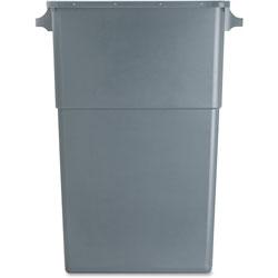 Genuine Joe Rectangle Plastic Indoor Trash Can, 23 Gallon, Gray