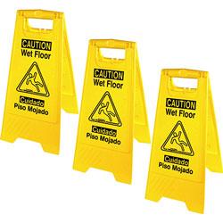 Genuine Joe Floor Signs, w/Graphic, Eng/Spanish, 3/BD, Yellow