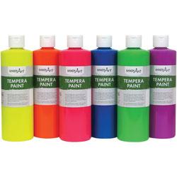 Handy Art Handy Art Fluorescent Tempera Paint, 8oz., 6/ST, Assorted