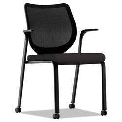 Hon Nucleus Series Multipurpose Stacking Chair with ilira-Stretch M4 Back, Black Seat/Black Back, Black Base
