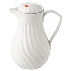 Hormel Poly Lined Carafe, Swirl Design, 64oz Capacity, White