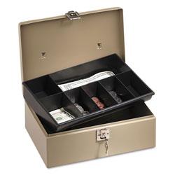 SecurIT® Lock'n Latch Steel Cash Box w/7 Compartments, Key Lock, Pebble Beige