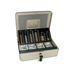 SecurIT® 3-in-1 Cash-Change-Storage Steel Security Box w/Key Lock, Pebble Beige