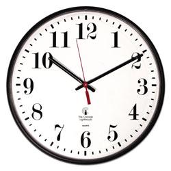 Chicago Lighthouse Quartz Slimline Clock, 12.75 in Overall Diameter, Black Case, 1 AA (sold separately)