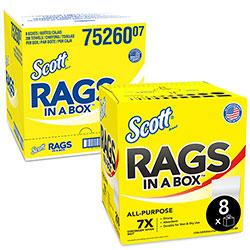 Scott® Rags in a Box, POP-UP Box, 10 x 12, White, 200/Box, 8 Boxes per Carton