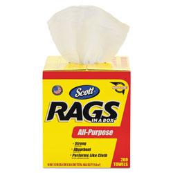 Scott® Rags in a Box, POP-UP Box, 10 x 12, White, 200/Box