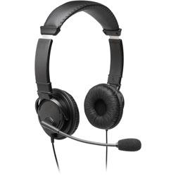 Kensington Headphones, W/ Mic, Hi-Fi, 7-9/10 inWx11-1/5 inLx2-4/5 inH, Bk