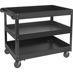 Lorell 3-shelf Utility Cart, 3 Shelf, 400 lb Capacity, 4 Casters, Steel, x 16 in Width x 30 in Depth x 32 in Height, Black, 1 Each