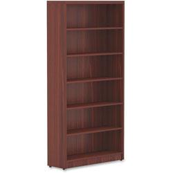 Lorell Top 1-1/2 in, Bookshelf 12-1/2 in x 36 in x 74 in, Mahogany