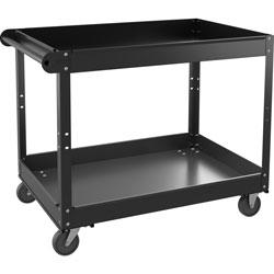 Lorell Utility Cart, 2-Shelf, 24 inWx36 inLx32 inH, Black