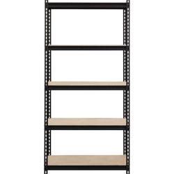 Lorell Shelving, 5-Shelf, Steel, 2300 lb Cap, 36 inx18 inx72 in, Black