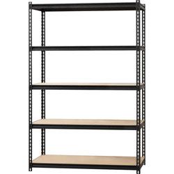 Lorell Shelving, 5-Shelf, Steel, 2300 lb Cap, 48 inx24 inx72 in, Black