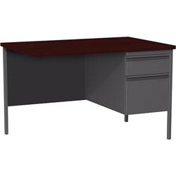 Lorell Single Pedestal Rtn Desk, RH, 42 in x 24 in x 29-1/2 in, Mahogany