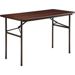 """Lorell Folding Table, 48""""x24""""x29"""", Mahogany"""