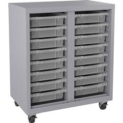 Lorell Storage Unit, w/ Bins, 30 inWx18 inLx36 inH, Platinum/Clear