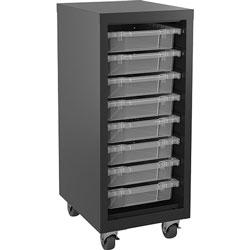 Lorell Storage Unit, w/ Bins, 15 inWx18 inLx36 inH, Black/Clear