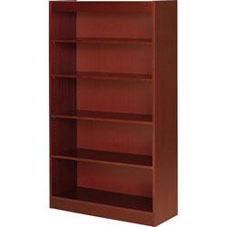 "Lorell 5 Shelf Veneer Panel Bookcase, 36"" x 12"" x 60"", Cherry"