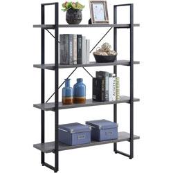 Lorell SOHO 4-Shelf Metal Frame Bookcase, 29 in x 11.8 in x 57.5 in, 4 Shelve(s), Charcoal, Powder Coated Frame