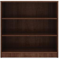Lorell 3-Shelf Bookcase, 36 in x 12' x 36 in, Walnut
