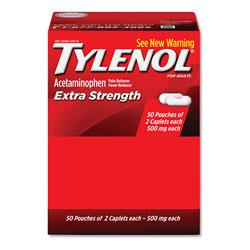 Tylenol® Extra Strength Caplets, Two-Pack, 50 Packs/Box