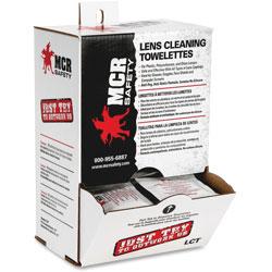 MCR Safety Lens Clean Towelettes, Antistatic/Anti Fog Formula, 100/BX