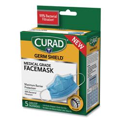 Curad Germ Shield Medical Grade Maximum Barrier Face Mask, Pleated, 10/Box