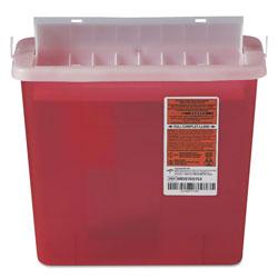 Medline Sharps Container for Patient Room, Plastic, 5 qt, Rectangular, Red