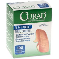 """Medline Adhesive Bandages, Flex Fabric, 1""""x3"""", 100/BX"""