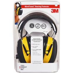 3M Earmuff Safety Headset w/Radio, Noise Reductn, LCD, BK/YW