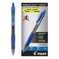Pilot G2 Premium Retractable Gel Pen, 0.7mm, Blue Ink, Smoke Barrel, Dozen