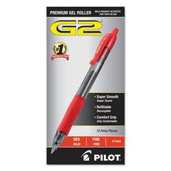 Pilot G2 Premium Retractable Gel Pen, 0.7mm, Red Ink, Smoke Barrel, Dozen