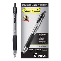 Pilot G2 Premium Retractable Gel Pen, 0.38mm, Black Ink, Clear/Black Barrel, Dozen