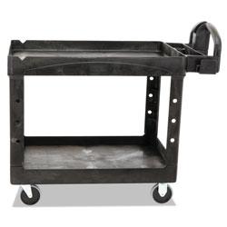 Rubbermaid Heavy-Duty Utility Cart, Two-Shelf, 25 9/10w x 45 1/5d x 32 1/5h, Black