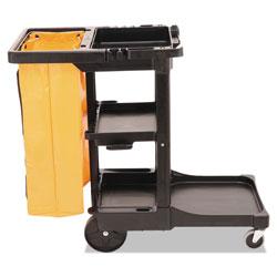Rubbermaid Multi-Shelf Cleaning Cart, Three-Shelf, 20w x 45d x 38.25h, Black