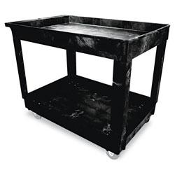 Rubbermaid Service/Utility Cart, Two-Shelf, 24w x 40d x 31.25h, Black
