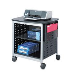 Safco Scoot Printer Stand, 26.5w x 20.5d x 26.5h, Black/Silver