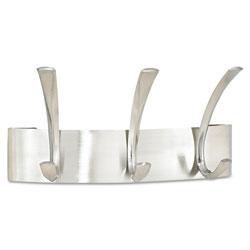 Safco Metal Coat Rack, Steel, Wall Rack, Three Hook, 10.75w x 4.5d x 5.25h, Brushed Nickel