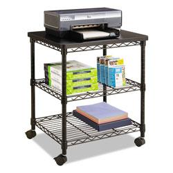 Safco Desk Side Wire Machine Stand, Three-Shelf, 24w x 20d x 27h, Black