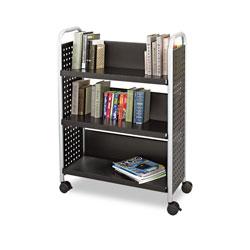Safco Scoot Book Cart, Three-Shelf, 33w x 14.25d x 44.25h, Black