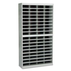Safco Steel/Fiberboard E-Z Stor Sorter, 72 Sections, 37 1/2 x 12 3/4 x 71, Gray