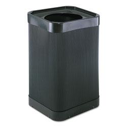 Safco Square Plastic Outdoor Trash Can, 38 Gallon, Black