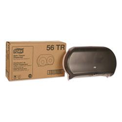 Tork Twin Jumbo Roll Bath Tissue Dispenser, 19.29 x 5.51 x 11.83, Smoke/Gray
