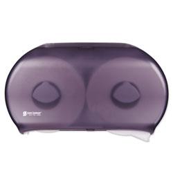 San Jamar Twin 9 in Jumbo Tissue Dispenser, 19 x 5 1/4 x 12, Transparent Black Pearl
